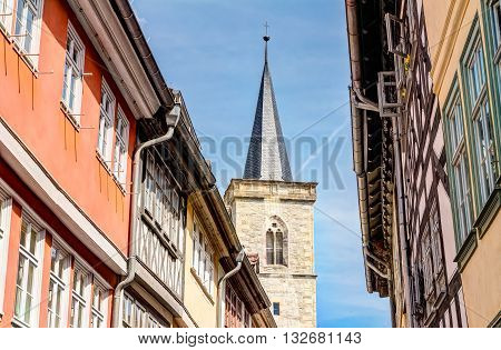 Saint Giles Church And Half-timbered Houses In Erfurt