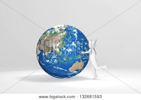 3d Man hugs Earth - Asia Oceania Edition (Elements of this image furnished by NASA)