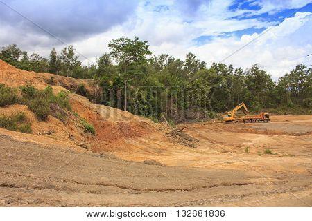 Deforestation environmental problem: destruction of rainforest to make way for oil palm plantations
