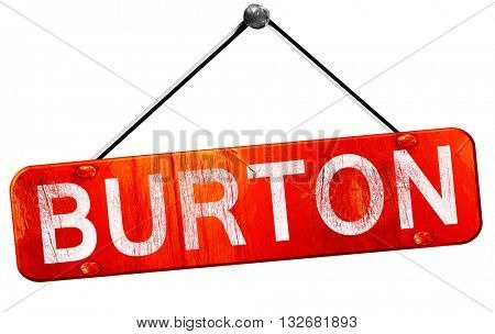 burton, 3D rendering, a red hanging sign
