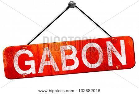 Gabon, 3D rendering, a red hanging sign