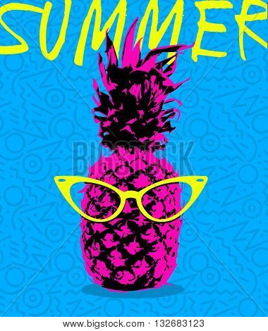 Summer Design Of Pineapple With Hipster Glasses