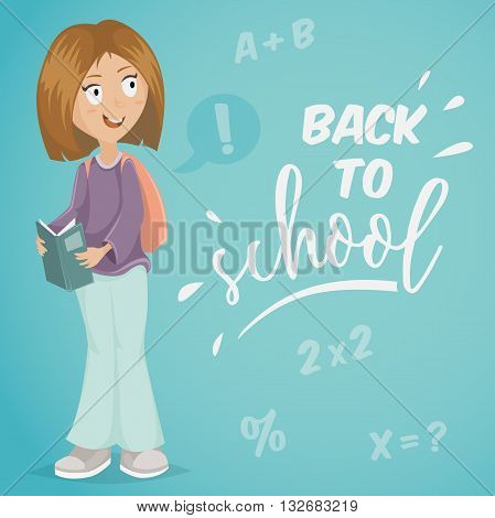 Back to school. Schoolgirl with book. Funny cartoon character. Vector illustration