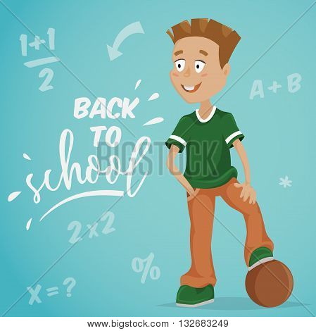 Back to school. Schoolboy with ball. Funny cartoon character. Vector illustration