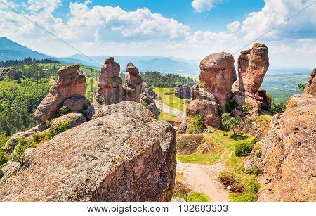 Vibrant image of Belogradchik cliff rocks near ancient Kaleto fortress, Bulgaria