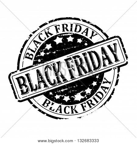 Damaged black round stamp with the inscription - Black Friday - vector