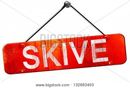 Skive, 3D rendering, a red hanging sign