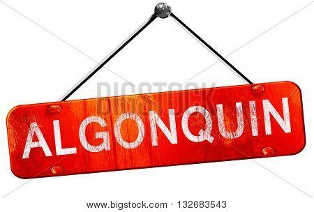 algonquin, 3D rendering, a red hanging sign