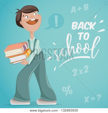 Back to school. Schoolboy with books. Funny cartoon character. Vector illustration