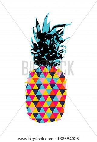 Summer Pineapple Design With Color Hipster Shapes