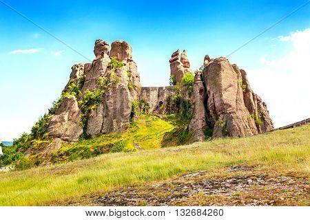 Vibrant image of Belogradchik cliff rocks at ancient Kaleto fortress, Bulgaria
