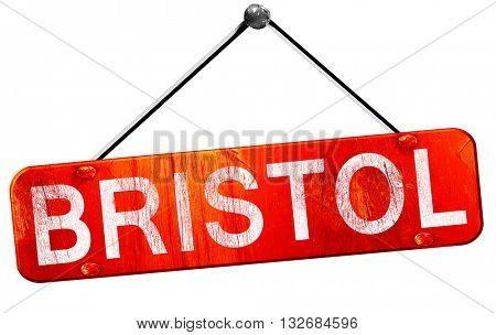 Bristol, 3D rendering, a red hanging sign