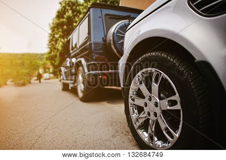 Stylish Wedding Cortege Of Cars, Close Up Wheels