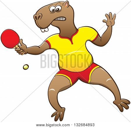 Chubby capybara wearing yellow shirt and red shorts, feeling worried, staring at the ball and preparing to hit it back while playing table tennis