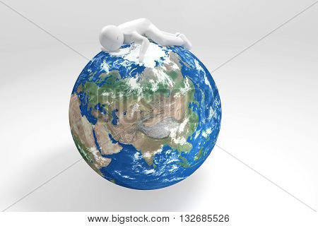 3d human sleeps on Earth - Asia Oceania Edition (Elements of this image furnished by NASA)