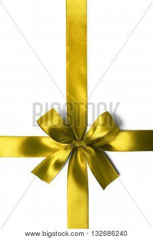 Yellow Bbon Bow On White Background