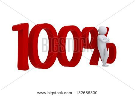3D human leans against  a red 100%