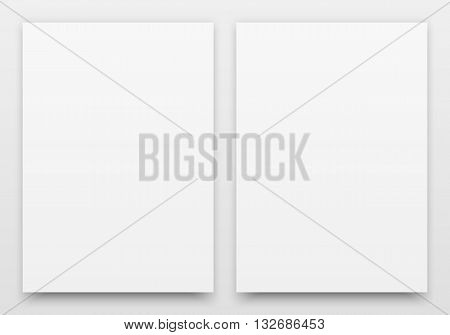 A2 white posters realistic template, mock-up with margins, realistic shadow and light background for design concepts, presentations, web, identity, prints. Vector illustration.