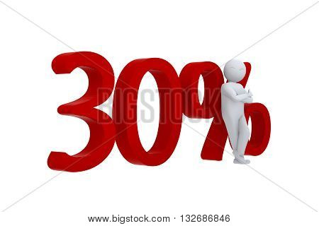 3D human leans against  a red 30%