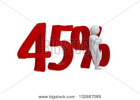 3D human leans against a red 45%