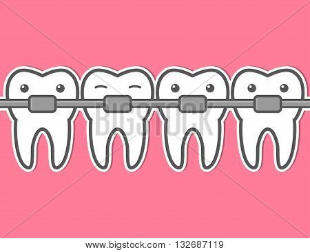 Cartoon teeth braces. Funny dental vector illustration