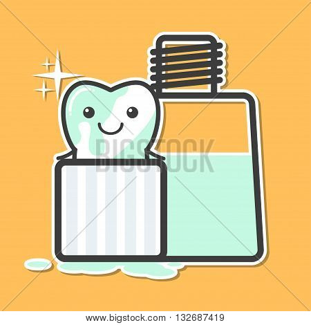 Tooth washing in mouthwash. Oral hygiene concept. Funny vector illustration