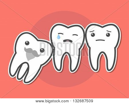 Wisdom tooth causes pain concept. Toothache. Dental vector illustration