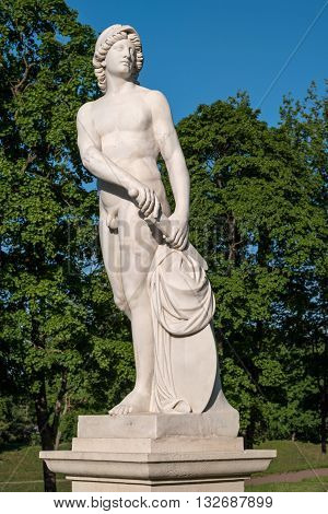 Gatchina Palace. Sculpture in the Dutch garden. Allegory - Endeavour. Close-up.