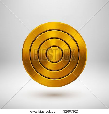 Gold abstract circle geometric badge, technology perforated button template with metal texture, chrome, silver, steel and realistic shadow for logo, design concepts, apps. Vector illustration.