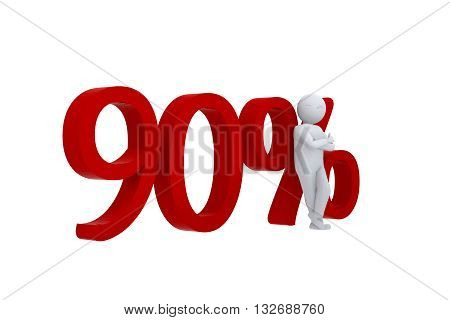 3D human leans against  a red 90%