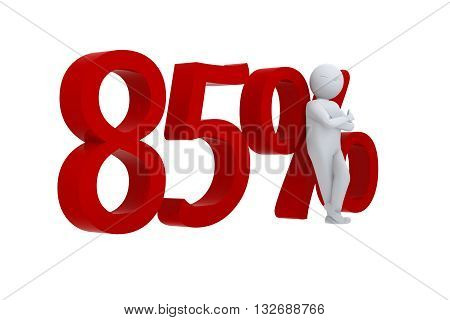 3D human leans against a red 85%