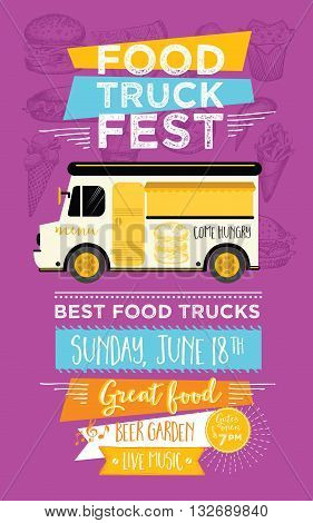 Food truck festival menu food brochure street food template design. Vintage creative party invitation with hand-drawn graphic. Vector food menu flyer. Hipster menu board.
