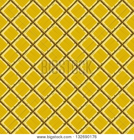 Cartoon Hand Drown Golden Old Diagonal Seamless Tiles Texture. Vector Illustration