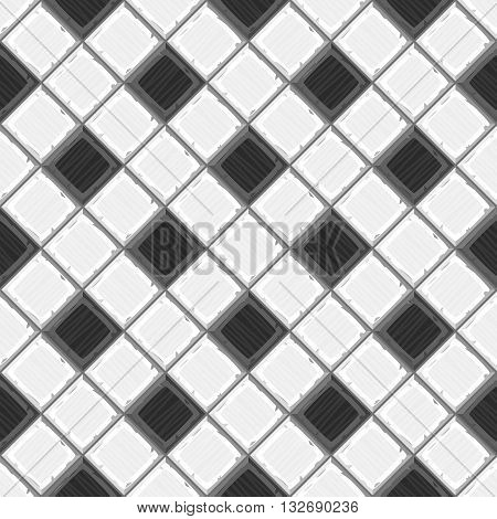 Cartoon Hand Drown Black And White Old Diagonal Seamless Tiles Texture. Vector Illustration