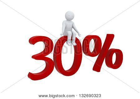3d human sits on a red 30%