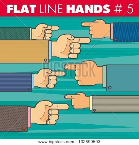 Vector hand style flat line design. Hand of a businessman shows his finger to the right, to the left. For web, print.