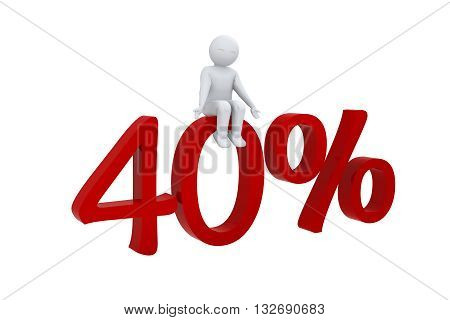 3d human sits on a red 40%