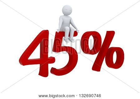 A 3d human sits on red 45%