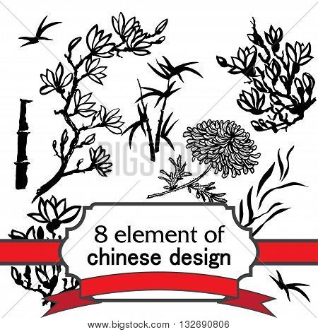 set of 8 floral ink element for design in chinese or japanese style - twig of magnolia, bamboo, flower of chrysanthemum. Vector asian design for textile, wallpaper, package, coloring, card, postcard