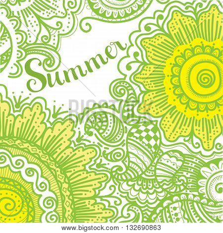 Hand drawn pattern with flowers, vector illustration for your design