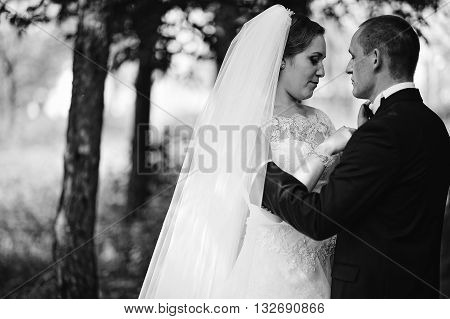Close Up B&w Portrait Of Hugging Wedding Couple