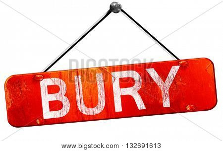 Bury, 3D rendering, a red hanging sign