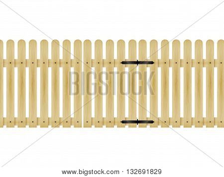 Vector illustration of a wooden fence with a gate isolated on white background.