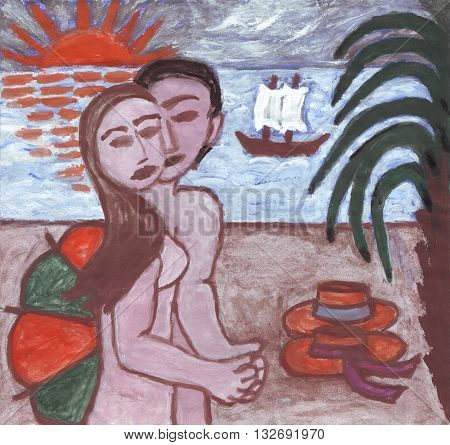Couple enjoying romantic evening on the beach, acrylic painting
