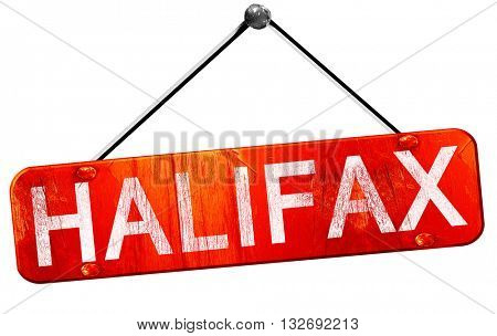 Halifax, 3D rendering, a red hanging sign