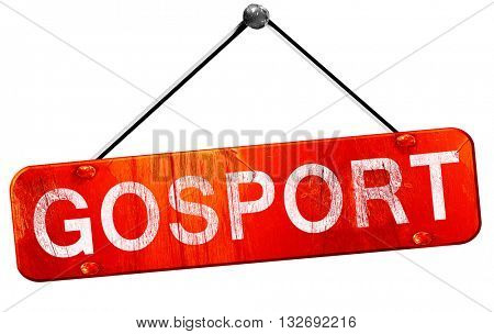 Gosport, 3D rendering, a red hanging sign
