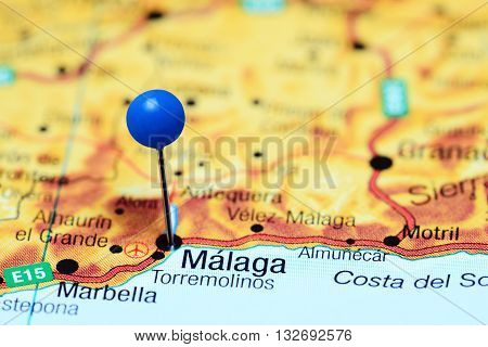 Malanga pinned on a map of Spain