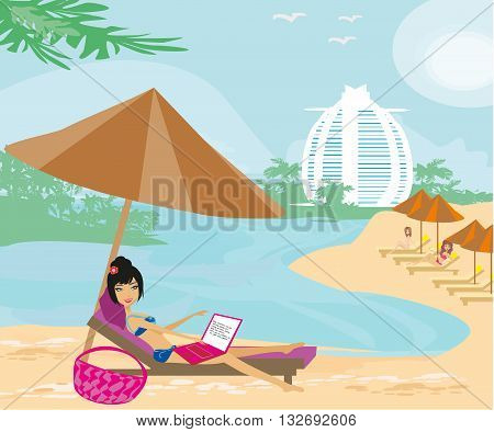 Woman sitting in deck chair and using laptop computer , vector illustration