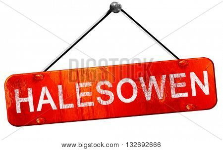 Halesowen, 3D rendering, a red hanging sign