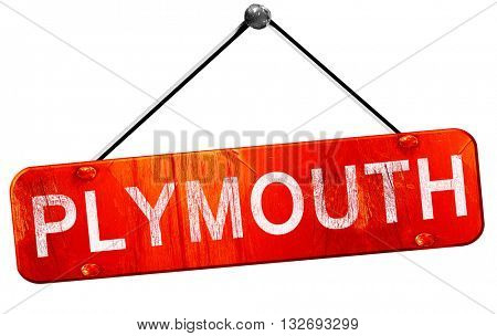 Plymouth, 3D rendering, a red hanging sign